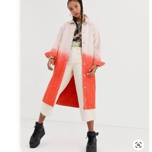 Oversized Long Ombre Denim Jacket by Jaded London